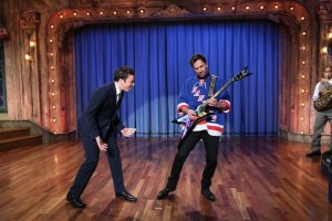 LATE NIGHT WITH JIMMY FALLON -- Episode 764 -- Pictured: (l-r) Host Jimmy Fallon, hockey player Henrik Lundqvist during a skit on January 11, 2013 -- (Photo by: Lloyd Bishop/NBC/NBCU Photo Bank)