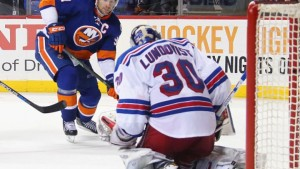 Lundqvist makes a big save for the Rangers.