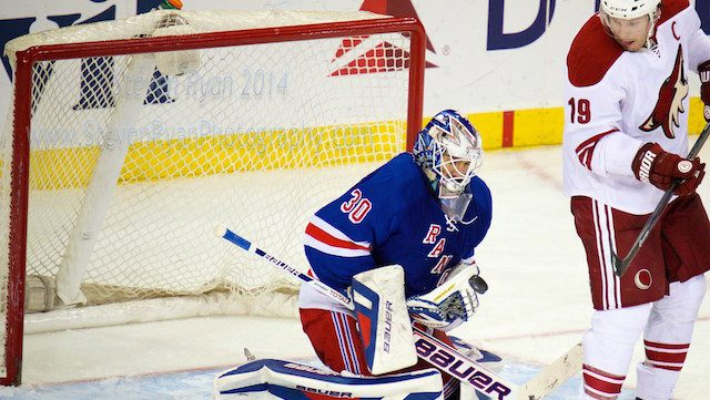 March 24, 2014: New York Rangers Goalie Henrik Lundqvist (30) [2585] makes a save during the Phoenix Coyotes versus the New York Rangers game at Madison Square Garden in New York, NY.