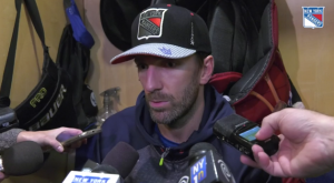 Goaltender Henrik Lundqvist talks after the team's win over the Oilers